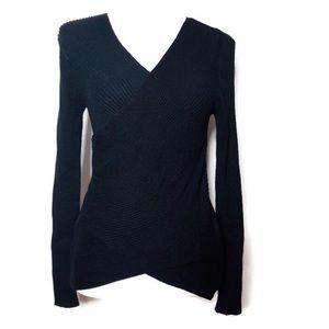 NWOT Soft Surroundings Black faux wrap knit top S